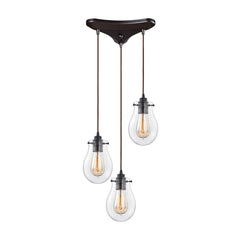 Jaelyn Multi-Light Pendant in Oil Rubbed Bronze, by ELK Lighting, 31934/3