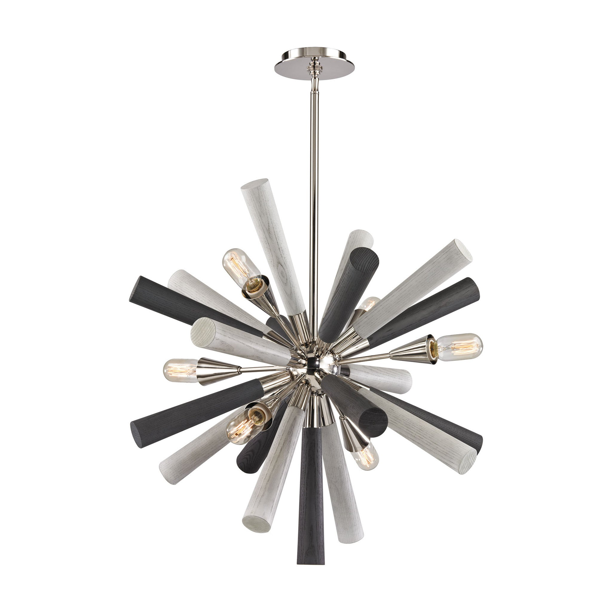 6 Light Solara Chandelier in Polished Nickel and Light-Dark Gray Washed Wood by Elk Lighting 32231/6