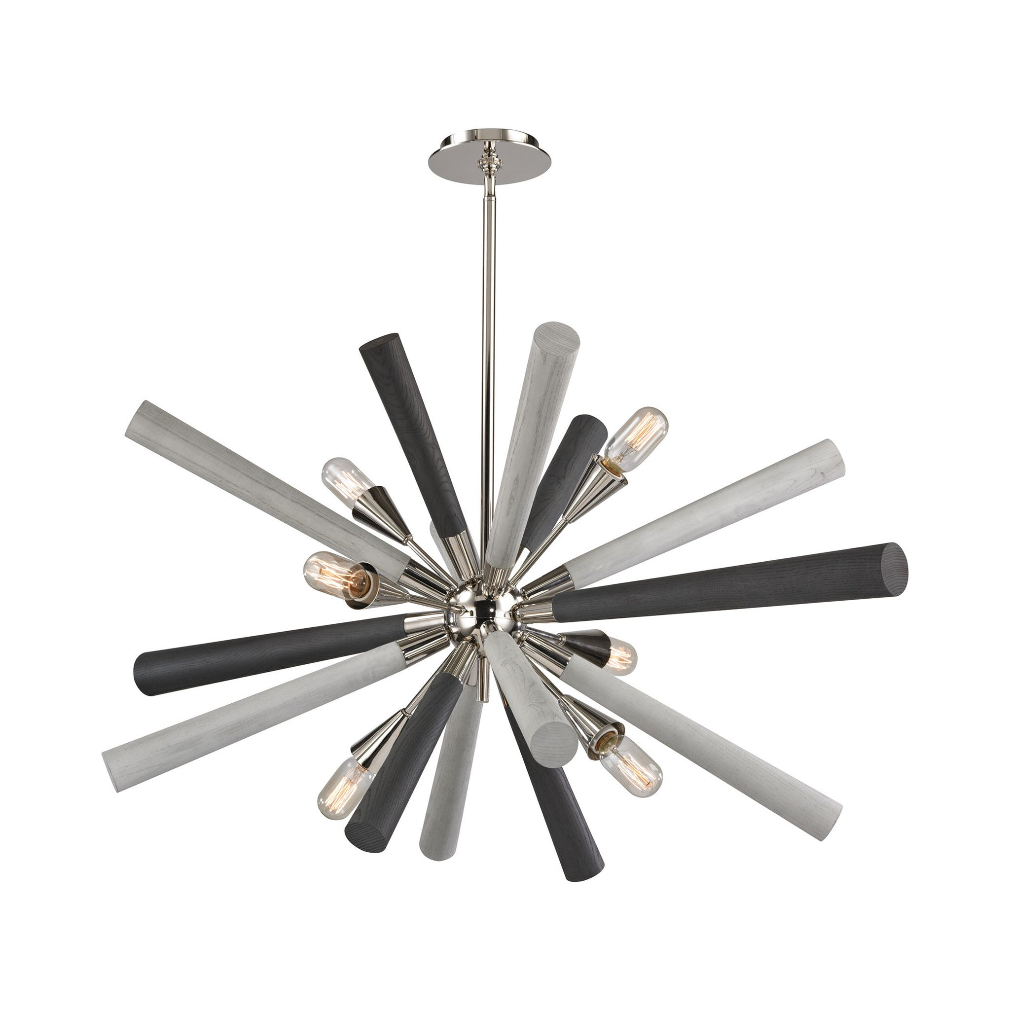 6 Light Solara Chandelier in Polished Nickel and Light-Dark Gray Washed Wood by Elk Lighting 32232/6