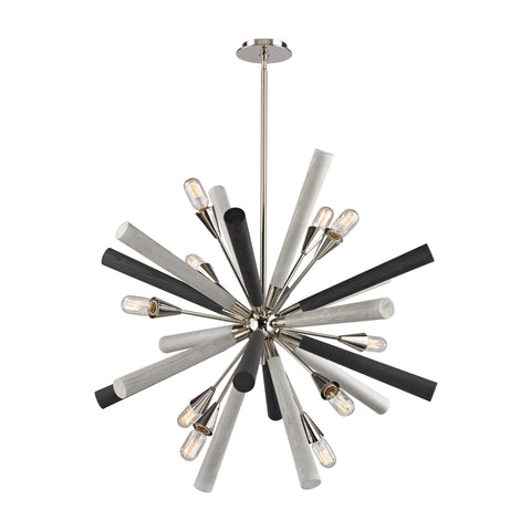 10 Light Solara Chandelier in Polished Nickel and Light-Dark Gray Washed Wood by Elk Lighting 32233/10