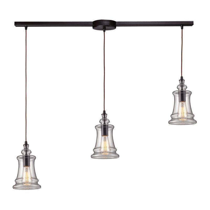 Menlow Park Multi-Light Pendant in Oiled Bronze, by ELK Lighting, 60042-3L