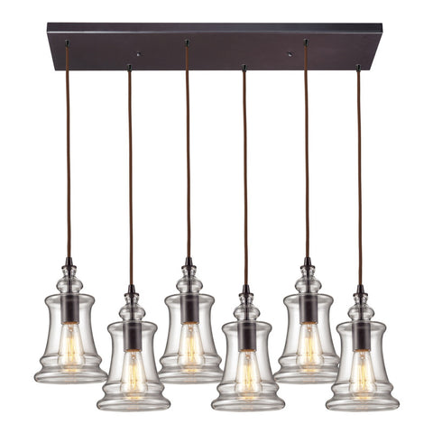 Menlow Park Multi-Light Linear Pendant in Oiled Bronze, by ELK Lighting, 60042-6RC