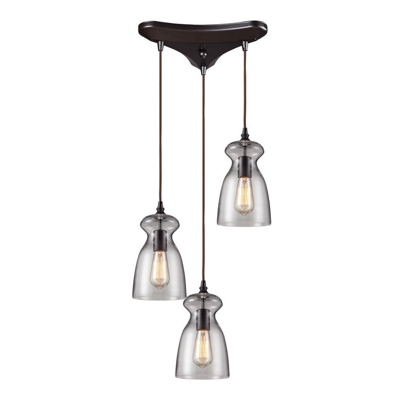 Menlow Park Multi-Light Pendant in Oiled Bronze, by ELK Lighting, 60043-3