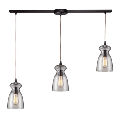 Menlow Park Multi-Light Linear Pendant in Oiled Bronze, by ELK Lighting, 60043-3L