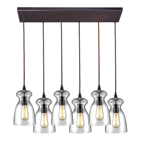 Menlow Park Multi-Light Linear Pendant in Oiled Bronze, by ELK Lighting, 60043-6RC