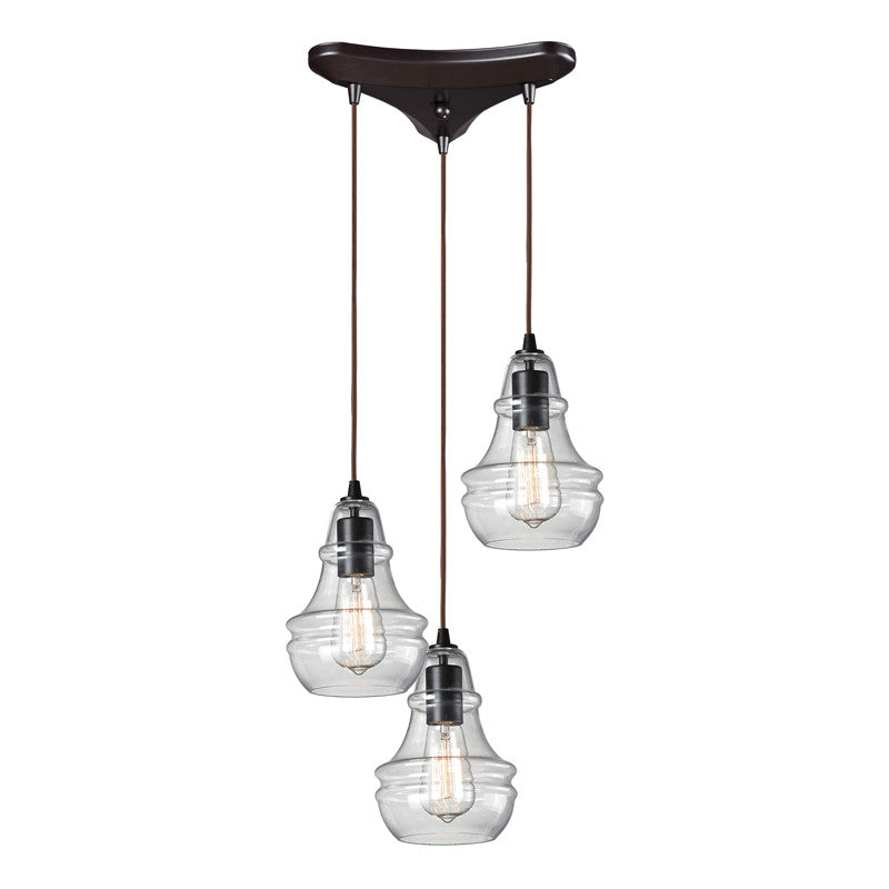 Menlow Park Multi-Light Pendant in Oiled Bronze, by ELK Lighting, 60047-3