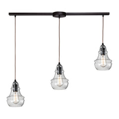 Menlow Park Multi-Light Linear Pendant in Oiled Bronze, by ELK Lighting, 60047-3L