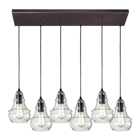 Menlow Park Multi-Light Linear Pendant in Oiled Bronze, by ELK Lighting. 60047-6RC