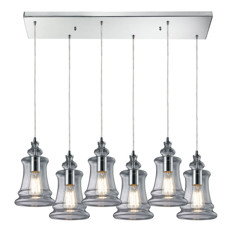 Menlow Park Multi-Light Linear Pendant in Polished Chrome, by ELK Lighting, 60052-6RC