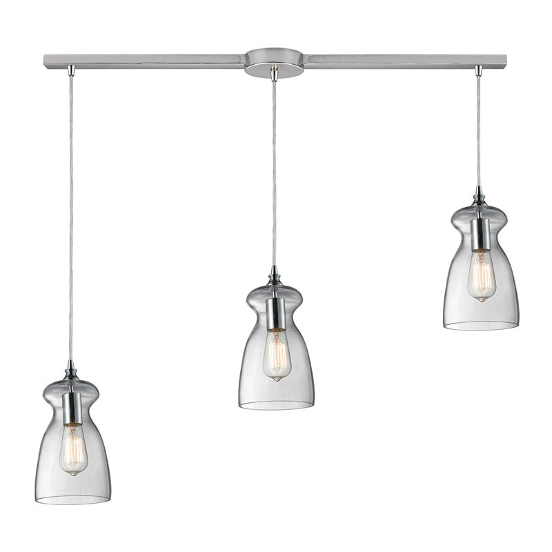Menlow Park Multi-Light Linear Pendant in Polished Chrome, by ELK Lighting, 60053-3L