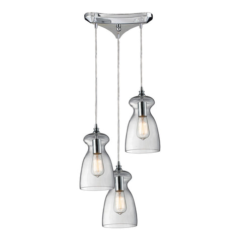 Menlow Park Multi-Light Pendant in Polished Chrome, by ELK Lighting, 60053-3
