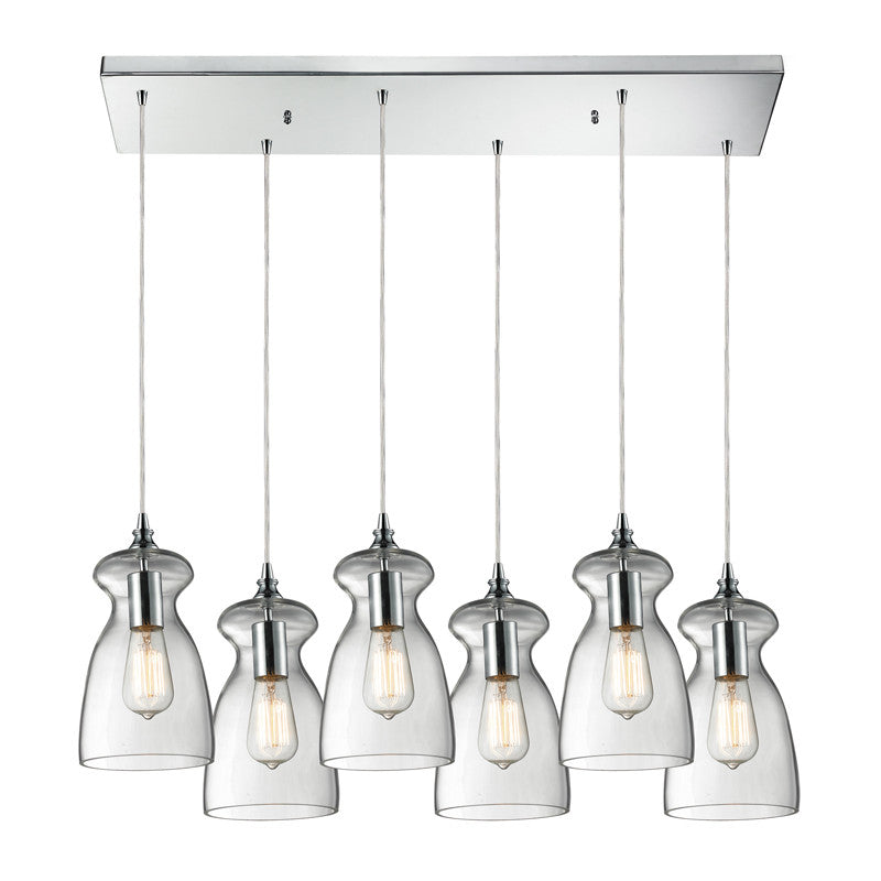 Menlow Park Multi-Light Linear Pendant in Polished Chrome, by ELK Lighting, 60053-6RC