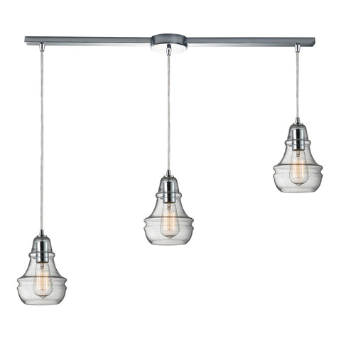 Menlow Park Multi-Light Linear Pendant in Polished Chrome, by ELK Lighting, 60057-3L