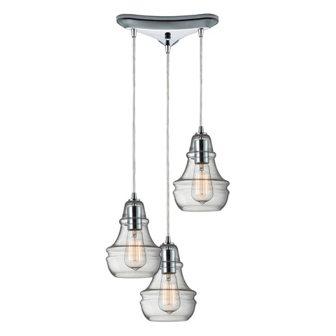 Menlow Park Multi-Light Pendant in Polished Nickel, by ELK Lighting, 60057-3