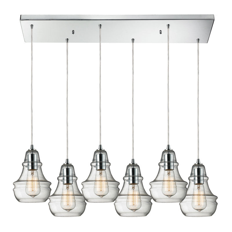 Menlow Park Multi-Light Pendant in Polished Chrome, by ELK Lighting, 60057-6RC