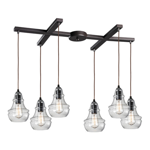Menlow Park Multi-Light Linear Pendant in Oiled Bronze, by ELK Lighting, 60047-6