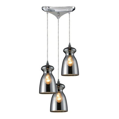 Menlow Park Multi-Light Pendant in Chrome, by ELK Lighting, 60063-3