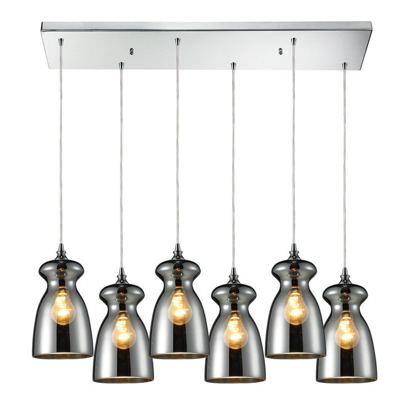 Menlow Park Multi-Light Linear Pendant in Chrome, by ELK Lighting, 60063-6RC