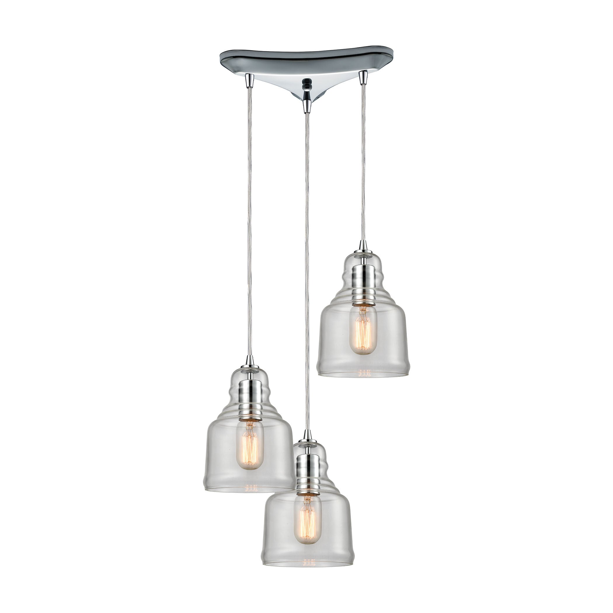 Menlow Park Multi-Light Pendant in Polished Chrome, by ELK Lighting, 60072/3