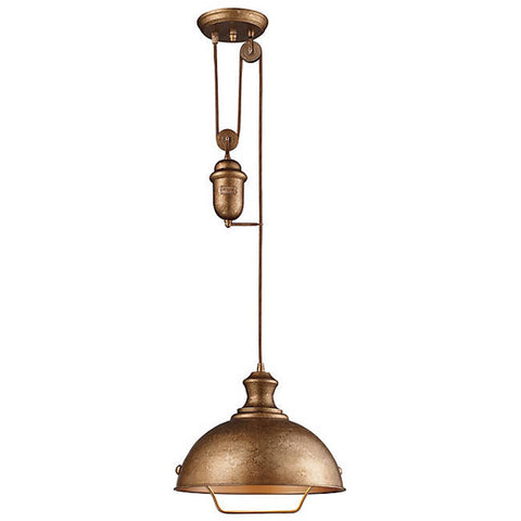 Farmhouse Dome Pulley Pendant in Bellwether Copper by Elk Lighting 65061-1