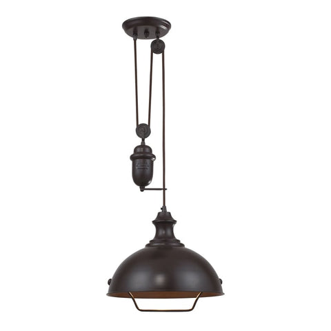 Farmhouse Dome Pulley Pendant in Oiled Bronze by Elk Lighting 65071-1
