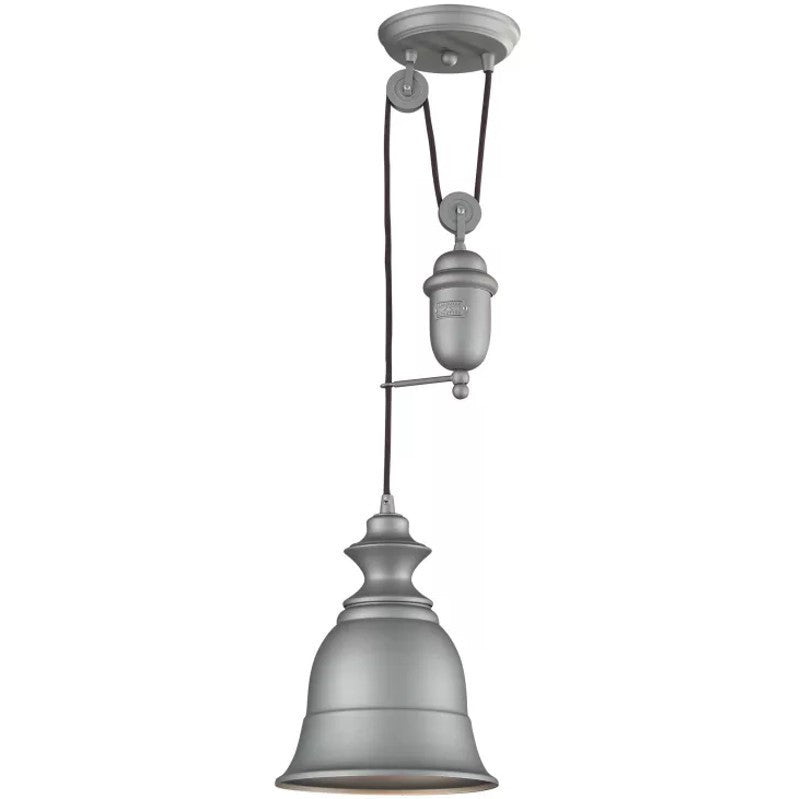 Farmhouse Bell Pulley Pendant by Elk Lighting in Aged Pewter 65080-1