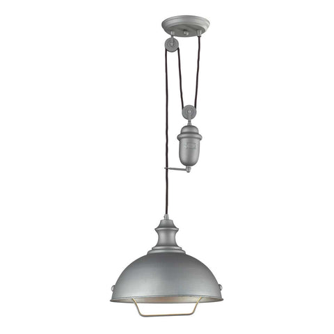 Farmhouse Dome Pulley Pendant in Aged Pewter by Elk Lighting 65081-1