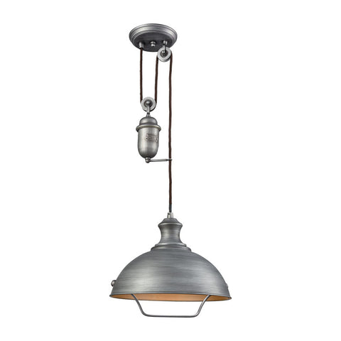 Farmhouse Dome Pulley Pendant in Weathered Zinc by Elk Lighting 65161-1