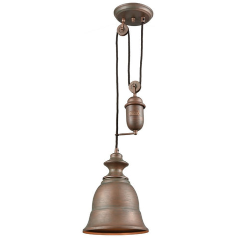 Farmhouse Bell Pulley Pendant by Elk Lighting in Tarnished Brass 65270-1