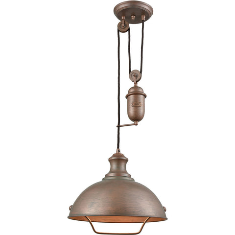 Farmhouse Dome Pulley Pendant in Tarnished Brass by Elk Lighting 65271-1