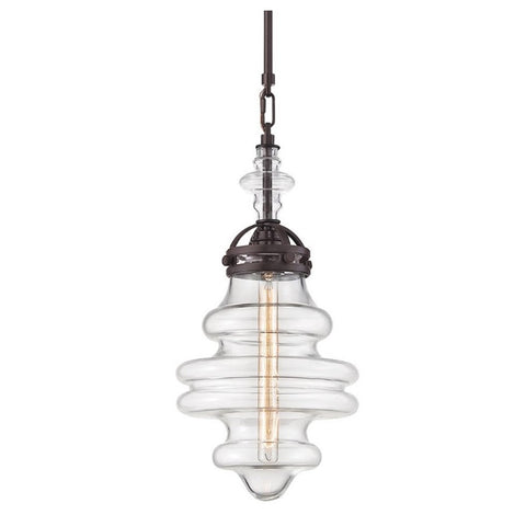 Gramercy 1 Light Blown Glass Pendant in Oil Rubbed Bronze 66127/1