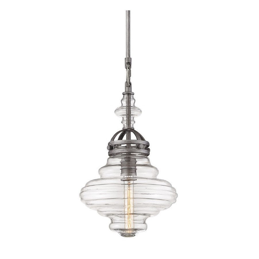 Gramercy Blown Glass Pendant by Elk Lighting with clear organic shaped glass and industrial details 66168/1