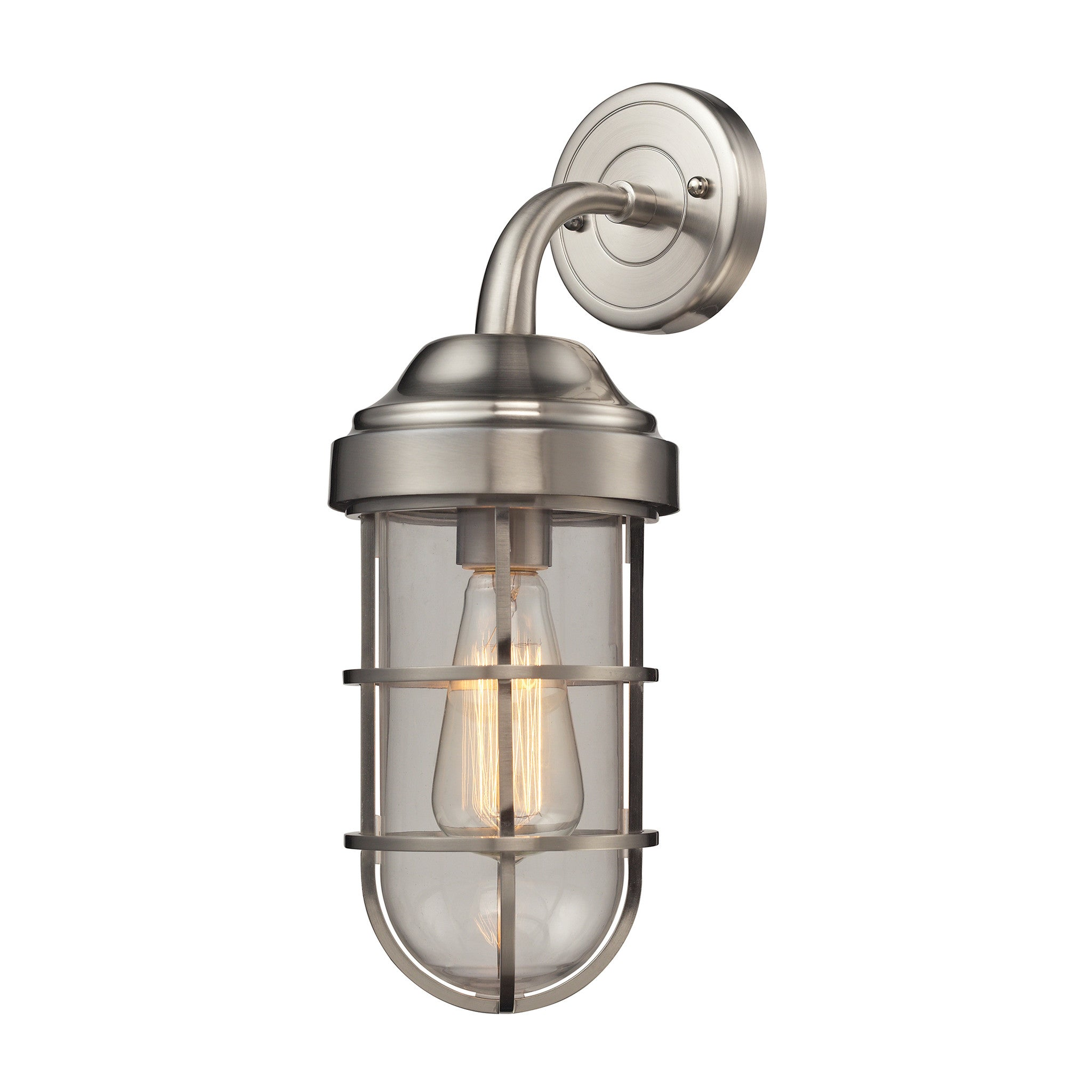 Seaport 1 Light Wall Sconce in Satin Nickel by Elk Lighting 66355-1