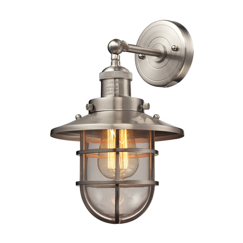 Seaport 1 Light Wall Sconce in Satin Nickel by Elk Lighting 66356-1