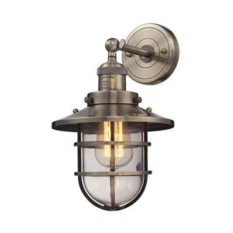 Seaport 1 Light Wall Sconce in Antique Brass by Elk Lighting 66376-1