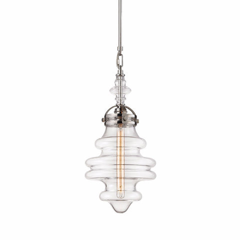 Gramercy 1 Light Blown Glass Pendant in Polished Nickel 67117/1