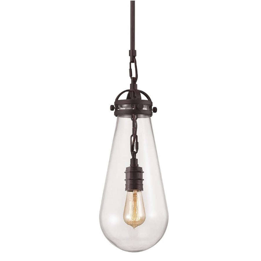 Gramercy Industrial Glass Pendant in Oil Rubbed Bronze with modern tear shaped clear glass shade by Elk Lighting 67120/1