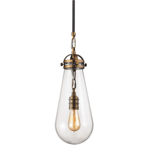 Gramercy Industrial Glass Pendant in Aged Brass and Oil Rubbed Bronze with modern tear shaped clear glass shade by Elk Lighting 67130/1
