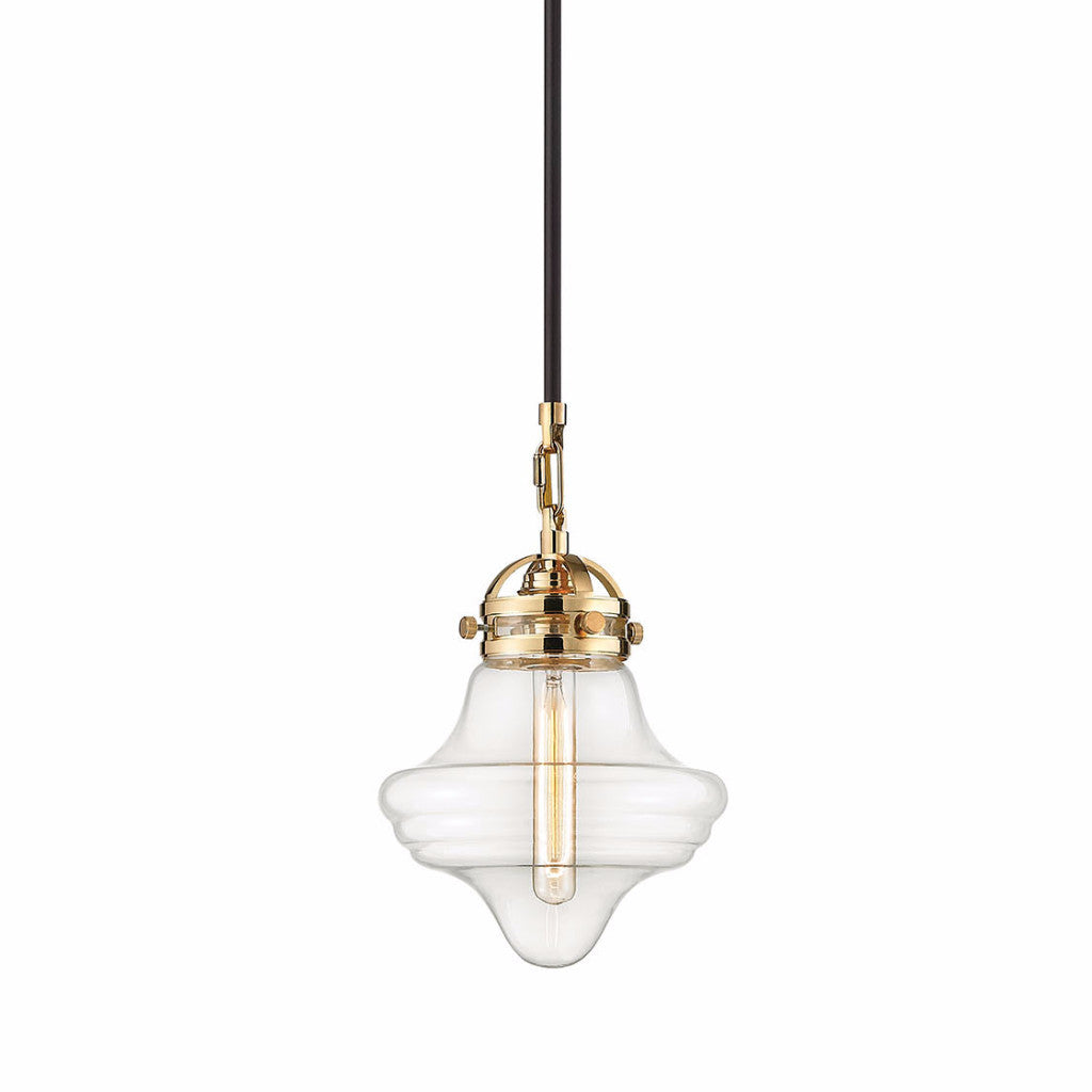 Gramercy Blown Glass Pendant by Elk Lighting intwo-toned Polished Gold and Bronze finish with modern clear glass shade by Elk Lighting 67154/1