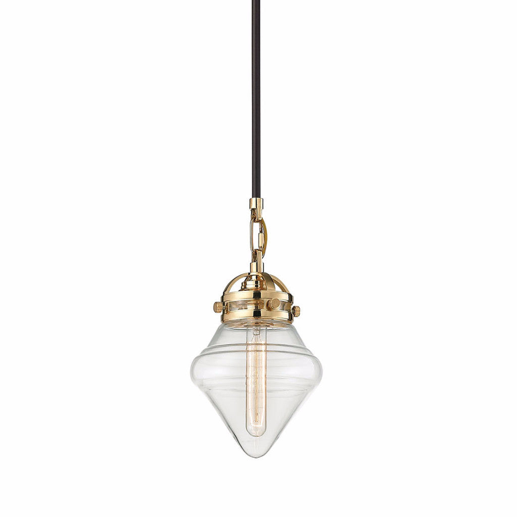 Gramercy Blown Glass Pendant by Elk Lighting with modern clear glass shade and two-toned Polished Gold and Bronze finish by Elk Lighting 67155/1