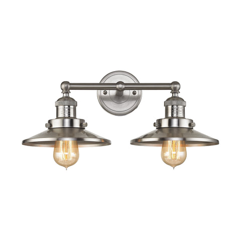 English Pub 2 Light Vanity in Satin Nickel Finish, by ELK Lighting, 67171/2