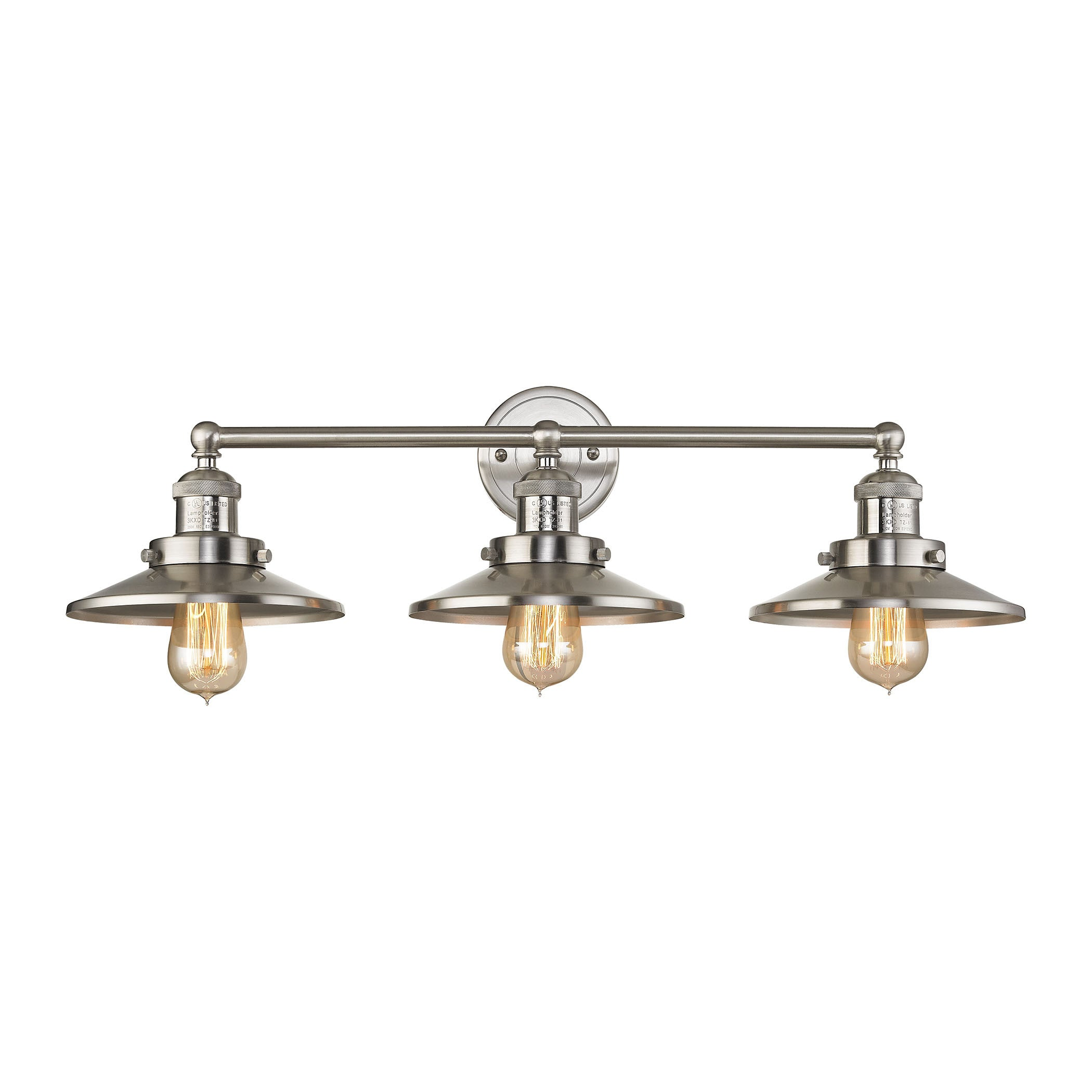 English Pub 3 Light Vanity in Satin Nickel Finish, by ELK Lighting, 67172/3