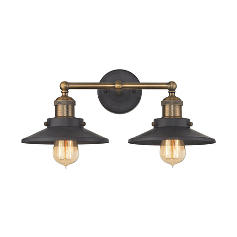 English Pub 2 Light Vanity in Tarnish Graphite with Antique Brass Finish, by ELK Lighting, 67181/2