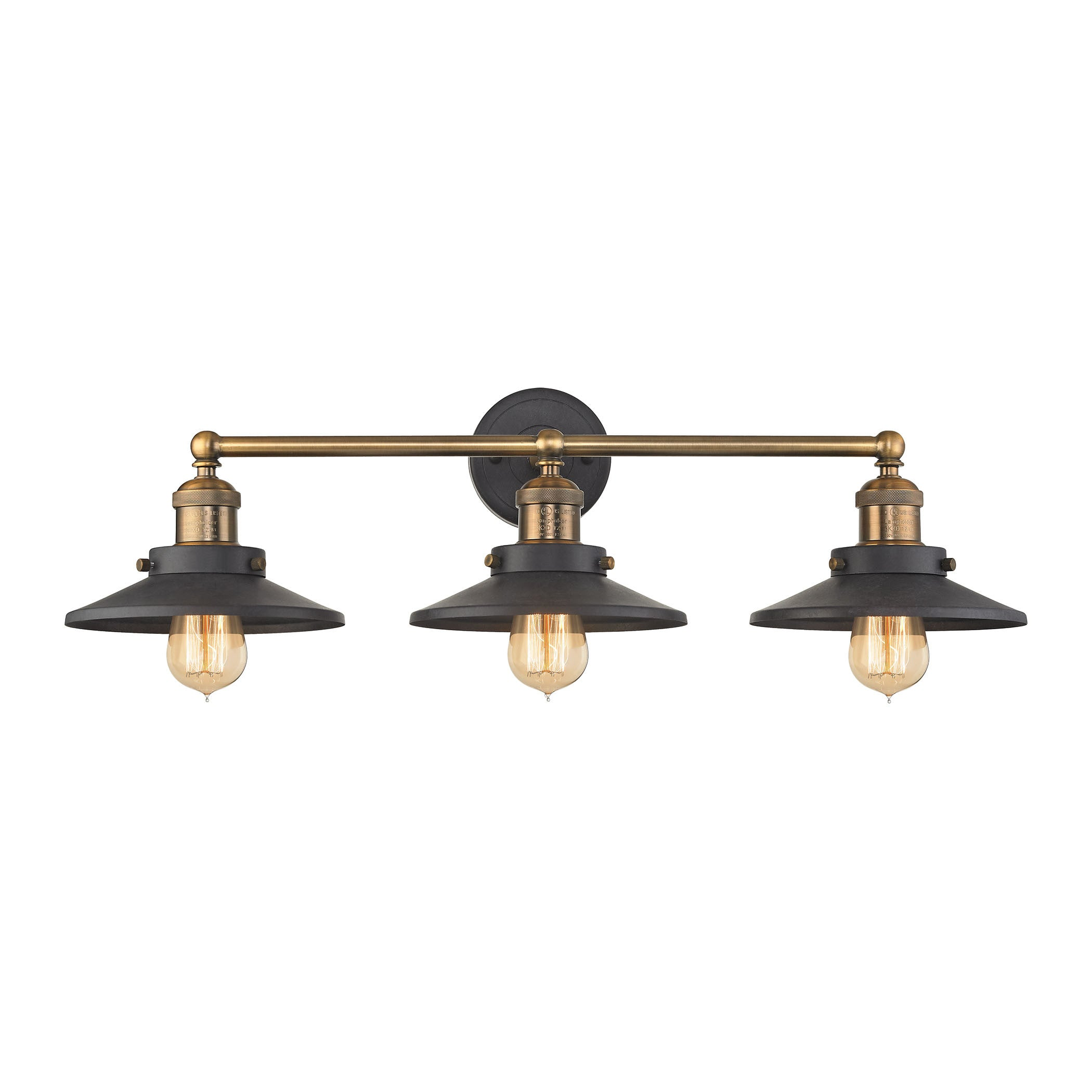 English Pub 3 Light Vanity in Tarnish Graphite with Antique Brass Finish, by ELK Lighting, 67182/3