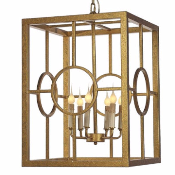 Hampton Lantern by Ella Home in Gilded Gold LN23 | Open Cage Gold Lantern | Lighting Connection