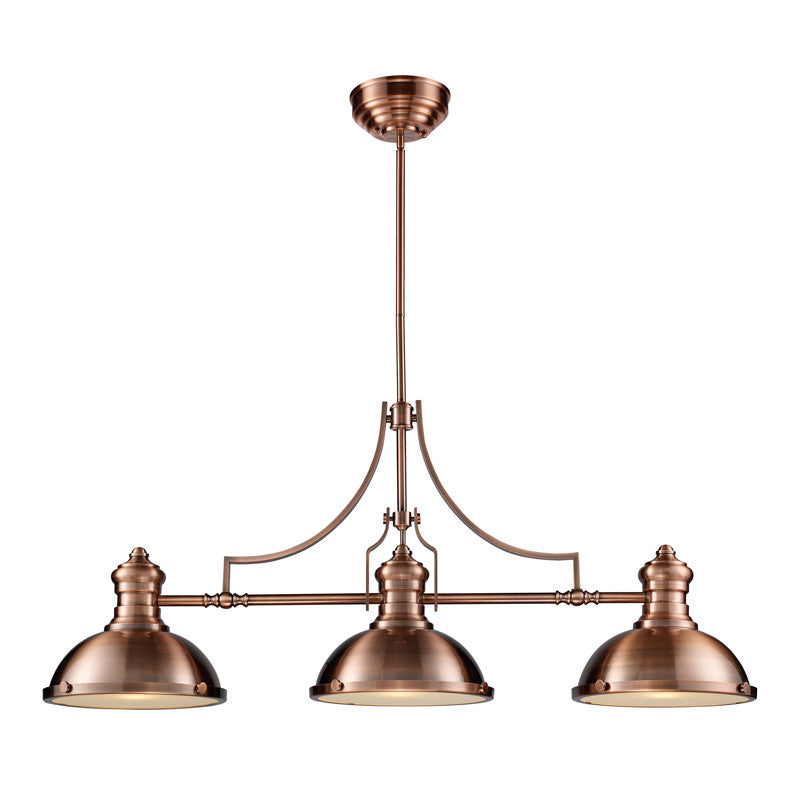 Chadwick 3 Light Linear Chandelier in Antique Copper by Elk Lighting 66145-3