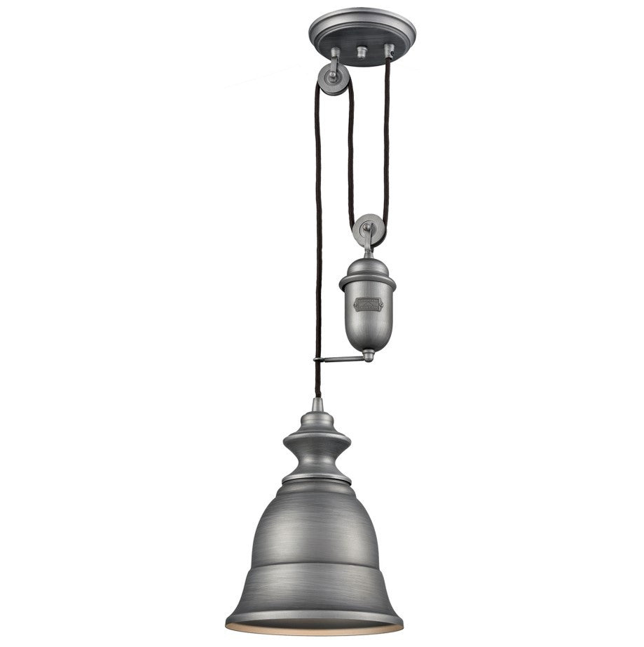 Farmhouse Bell Pulley Pendant by Elk Lighting in Weathered Zinc 65160-1
