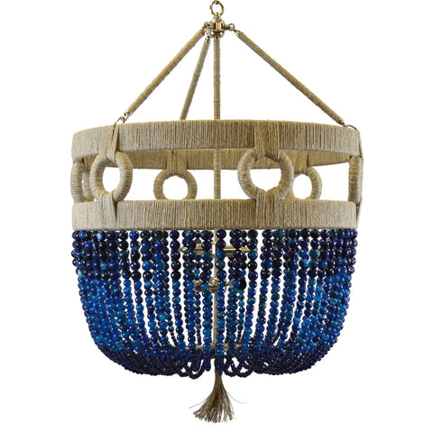 Ro Sham Beaux Frankie Malibu Chandelier with Blue Agate Beads FM-24-BL-AG-NH-BR