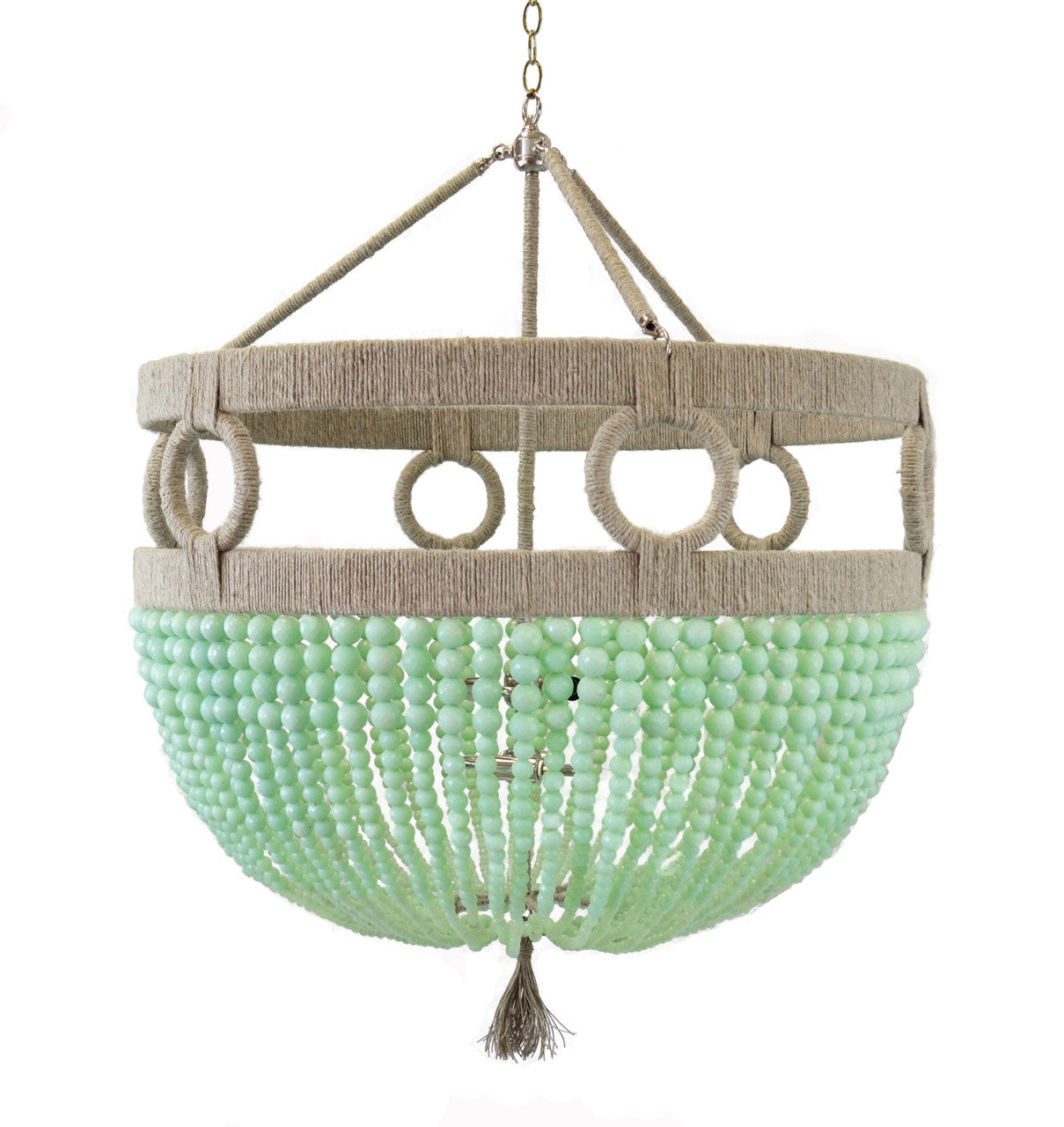 Ro Sham Beaux Frankie Malibu Chandelier with Robbins Egg Beads FM-24-ROB-EGG-NH-BR