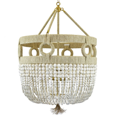 Ro Sham Beaux Frankie Malibu Chandelier with White Swirl Beads FM-24-WH-SW-NH-BR-1
